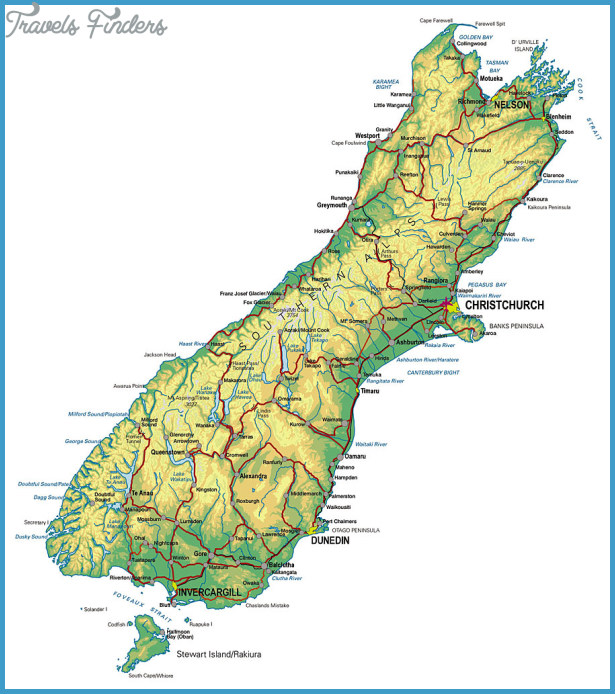 Road Map Of South Island Of New Zealand.Map Of South Island New Zealand Travelsfinders Com