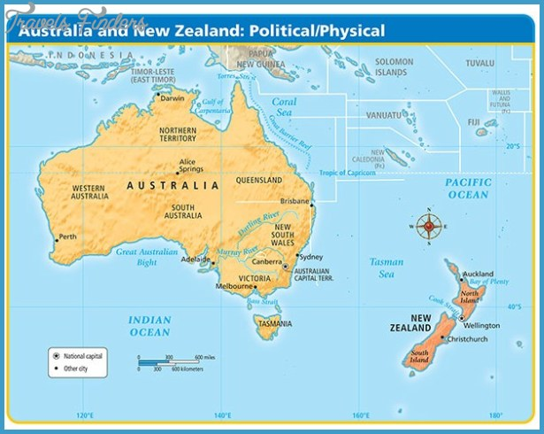 Physical Map Of Australia And New Zealand TravelsFindersCom - Map of australia and new zeland