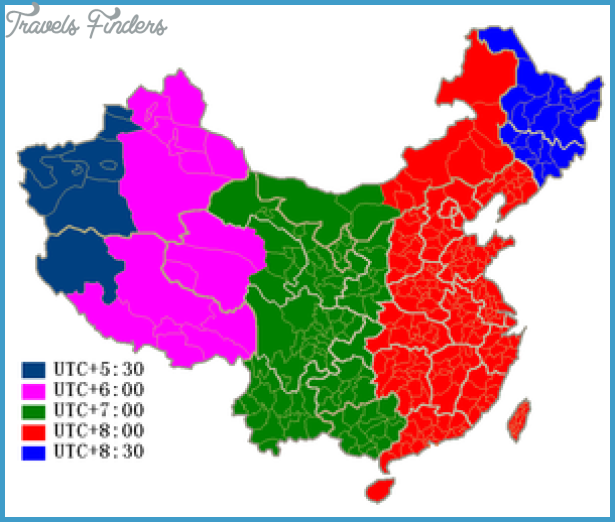 China Time Zone Map - TravelsFinders.Com ®