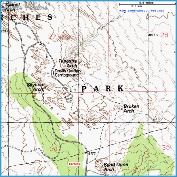 Arches National Park Hiking Map - TravelsFinders.Com ®