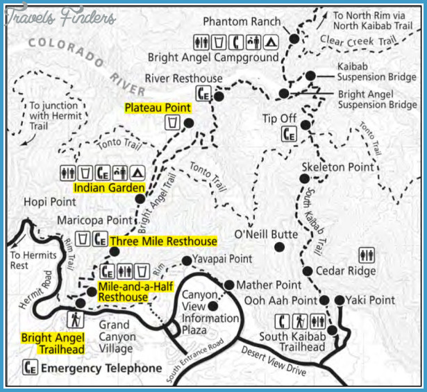 Grand Canyon Hiking Trail Map - TravelsFinders.Com ®