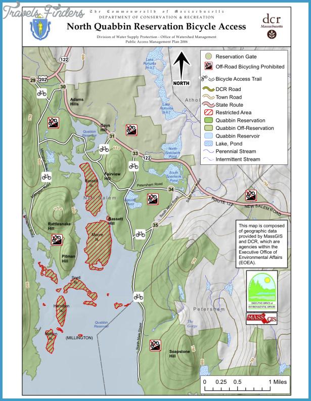 Quabbin Reservoir Hiking Trail Map - TravelsFinders.Com ® on