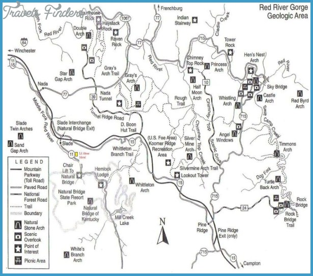 Red River Gorge Hiking Trails Map Travelsfinders Com