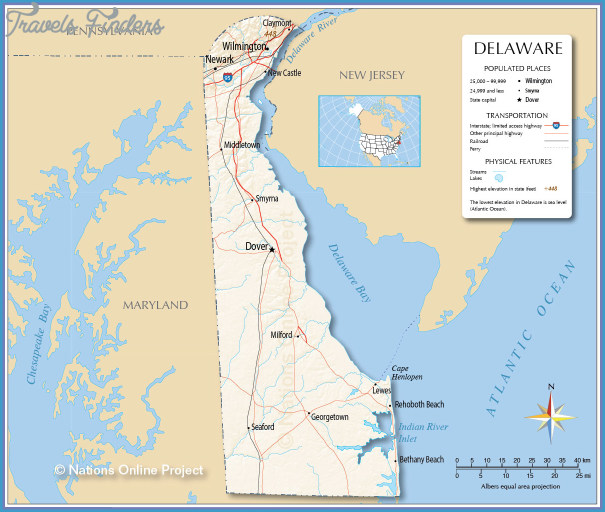Delaware Map - TravelsFinders.Com ® on