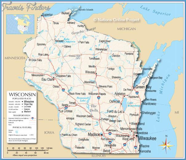 Wisconsin Map TravelsFindersCom