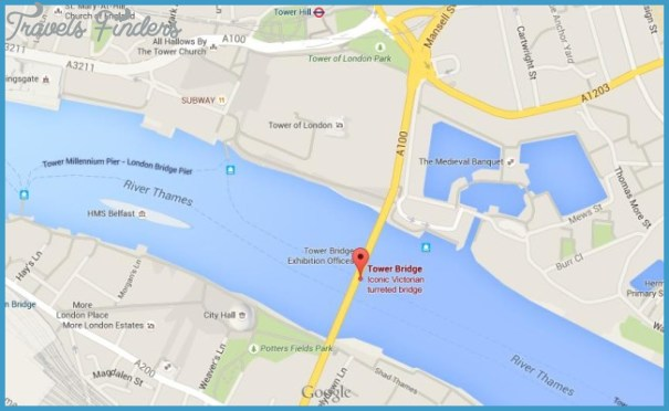Map London Bridge.Tower Bridge Map Travelsfinders Com