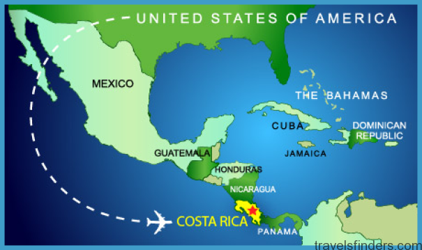 Costa Rica On Us Map USA to COSTA RICA MAP   TravelsFinders.®