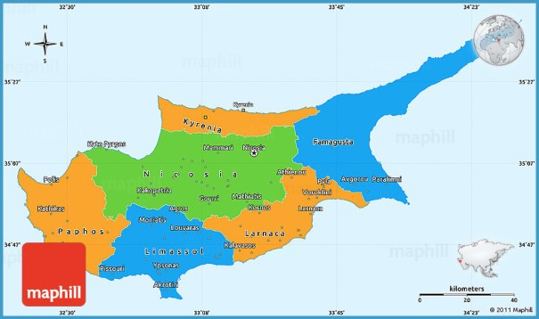 Cyprus Map In World Map - TravelsFinders.Com