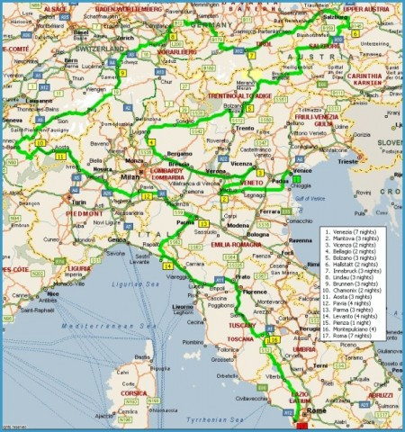 Map Of Germany And Italy.Map Of Austria And Italy Travelsfinders Com
