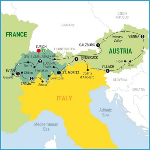 Map Of Austria And Switzerland Map Of Austria And Switzerland   TravelsFinders.®
