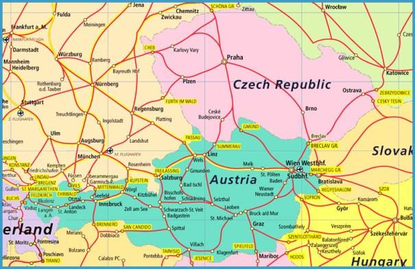 map of czech republic and austria Map Of Czech Republic And Austria Travelsfinders Com map of czech republic and austria