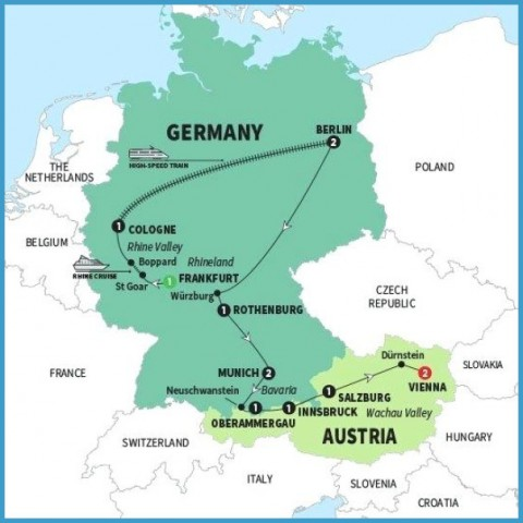 Germany Austria Map Map Of Germany And Austria   TravelsFinders.®