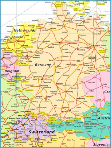 Map Of Germany Jpg.Map Of Germany Austria And Switzerland Travelsfinders Com