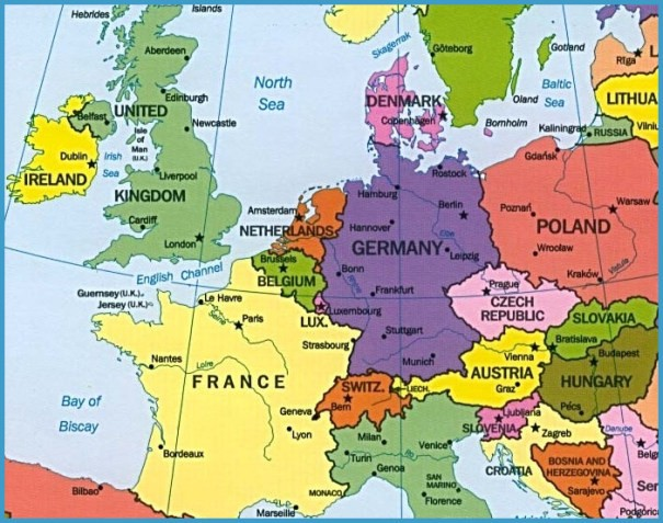 Map Of Germany And Switzerland.Map Of Switzerland Austria And Germany Travelsfinders Com