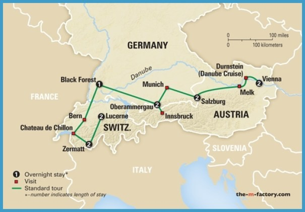 Map Of Switzerland And Austria Map Of Switzerland Austria And Germany   TravelsFinders.®