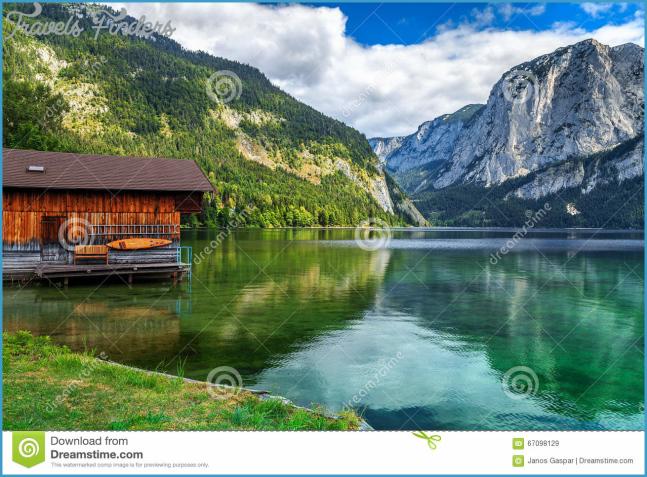 Wooden Boathouse On The Lake,Altaussee,Salzkammergut,Austria,Europe ...