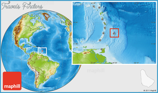 Physical Location Map of Barbados