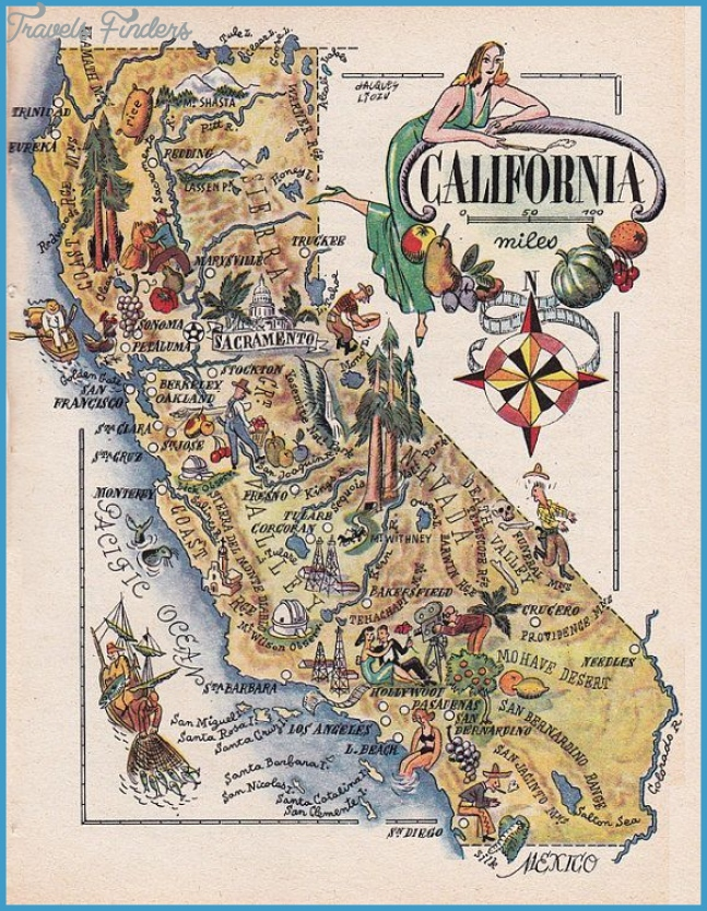 map of California from 1946, vintage printable digital download no ...