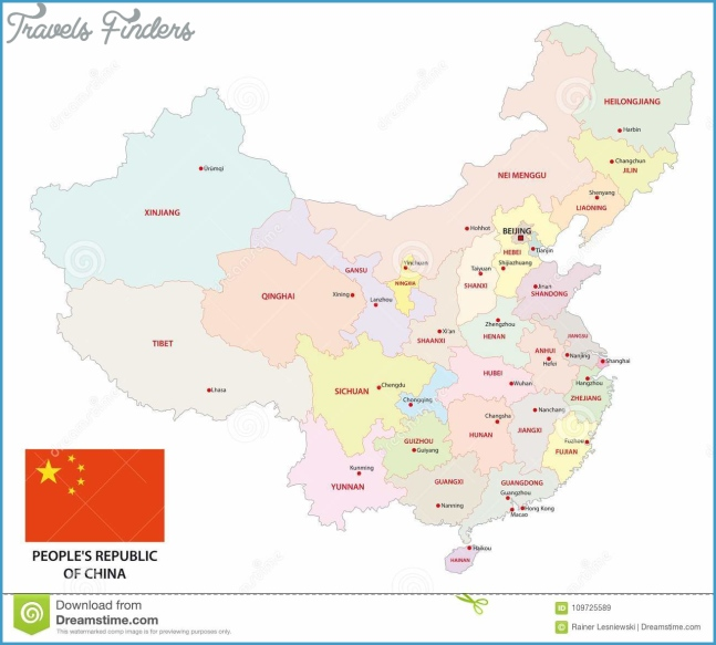 Colorful Administrative And Political Vector Map Of China With Flag ...