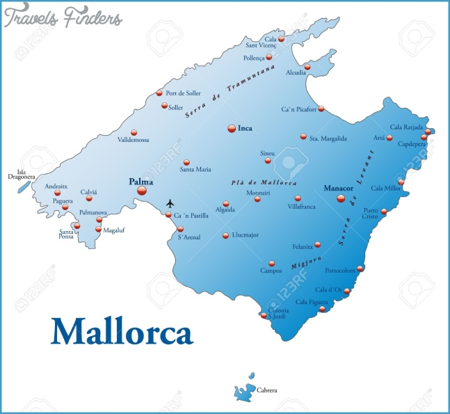 Map Of Mallorca As An Overview Map In Blue Royalty Free Cliparts ...