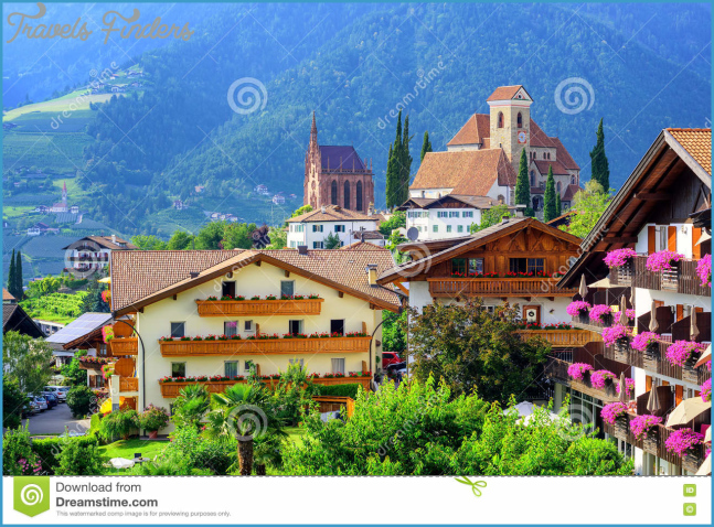 Alpine Village Schenna, Meran, South Tyrol, Italy Stock Photo ...