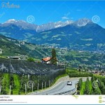 Italian Alps-views Of The Merano And Apple Orchards Stock Image ...