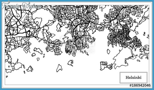 Helsinki Finland City Map in Black and White Color.""