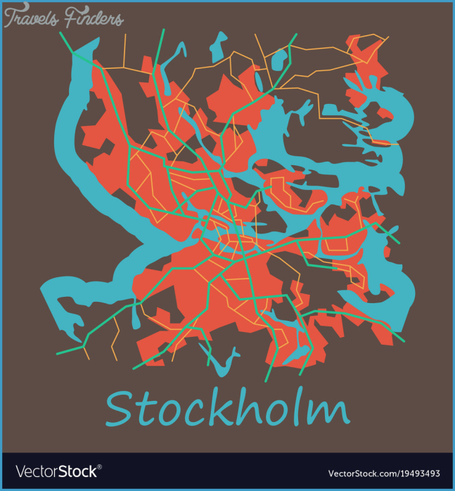 Flat color map of stockholm sweden all objects Vector Image