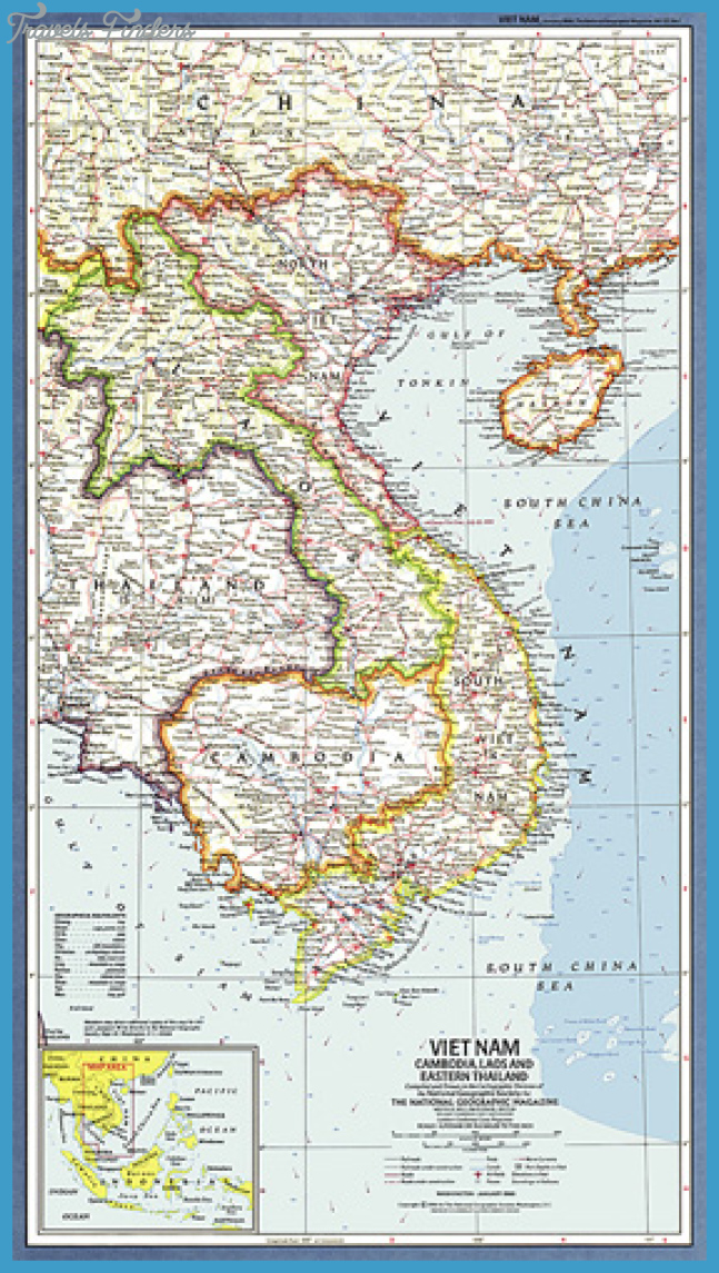 Vietnam, Cambodia, Laos and Eastern Thailand Map