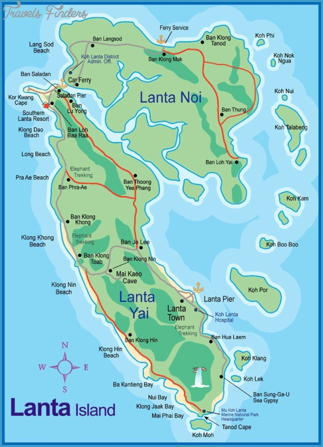 Large Ko Lanta Island Maps for Free Download and Print