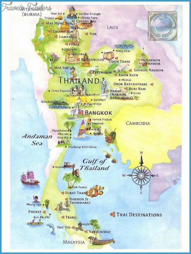Detailed tourist map of Thailand. Thailand detailed tourist map