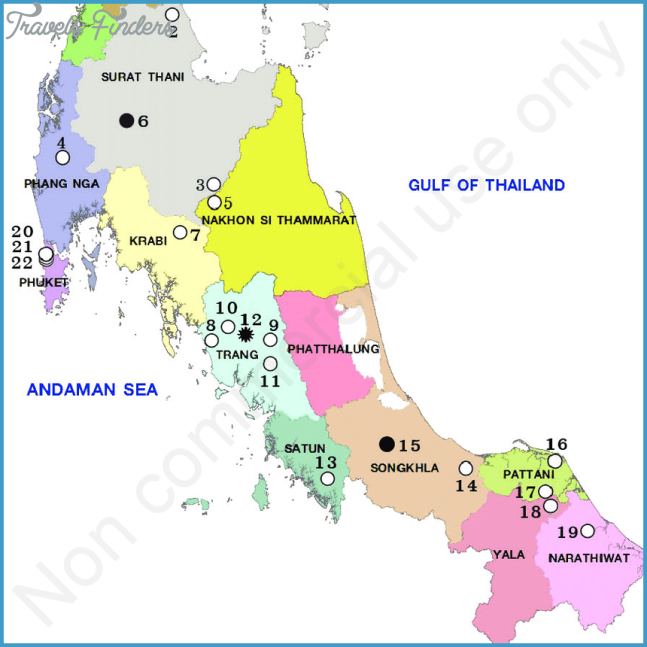 Map of Southern Thailand showing the swamp sites examined