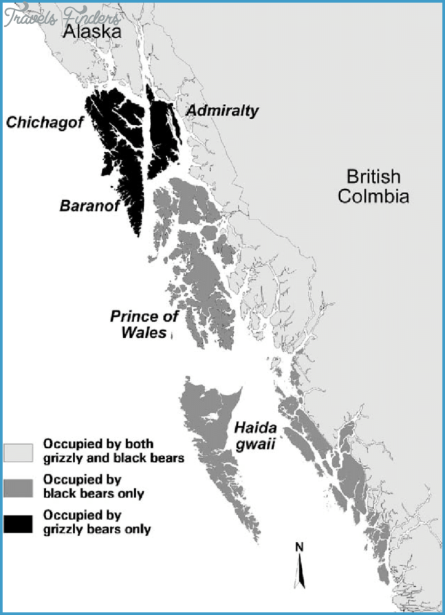 Distributions of grizzly bears and American black bears on islands