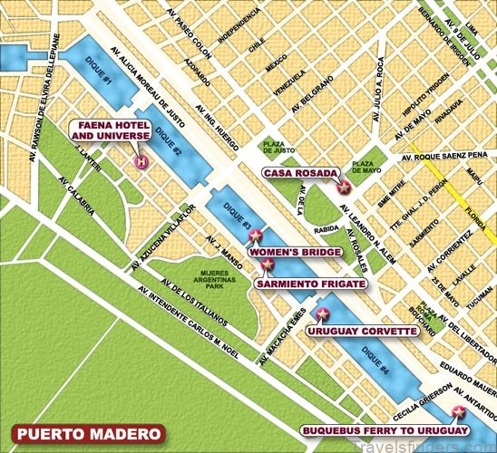 Argentina Travel Guide - Map of Puerto Madero, Buenos Aires | Buenos aires, Map, Travel
